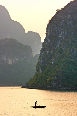 long lake: Halong Bay, Vietnam. Unesco World Heritage Site. Most popular place in Vietnam. Stock Photo