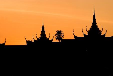 Silhouette of Royal Palae, Pnom Penh, cambodia.