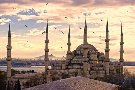 blue mosque: The Blue Mosque, (Sultanahmet Camii), Istanbul, Turkey. Stock Photo