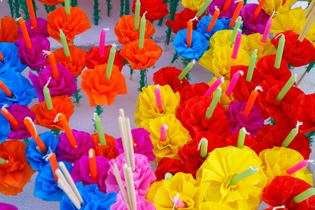 Colored Candle for Loi Kratong Festival, Bangkok. Stock Photo - 8954408