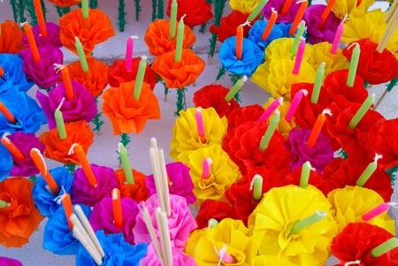 Colored Candle for Loi Kratong Festival, Bangkok. Stock Photo - 8954408