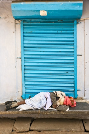 Sleeping on the street, india.