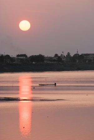 uttar: Sunset on the ganges river, Varanasi, India.