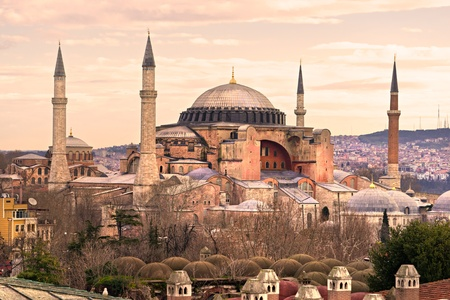 constantinople ancient: Hagia Sophia mosque in sultanahmet, Istanbul, Turkey. Stock Photo