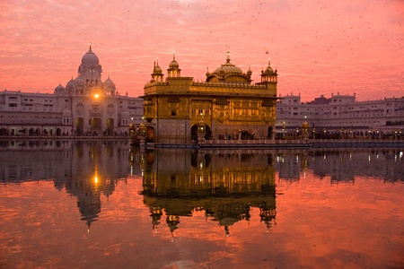monument in india: Sunset at Golden Temple, Amritsar, India.
