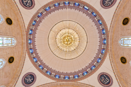 fatih: The beautiful decorated cupolas of the Fatih Mosque, Fatih district, Istanbul, Turkey