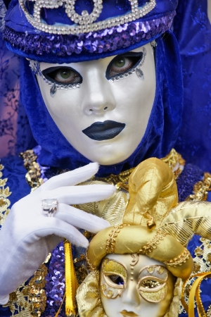 painted face mask: Venice carnival mask, italy.