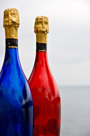 Two colored bottles sparkling wines photo