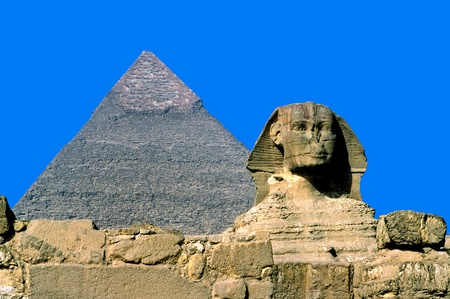 Giza, The Sphinx and Chefren Pyramid, Cairo, Egypt. photo