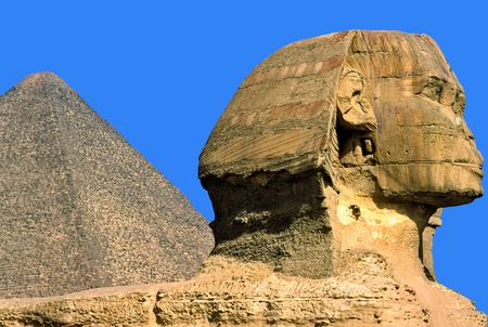 The Sphinx and the Great Pyramid, Giza, Egypt. photo