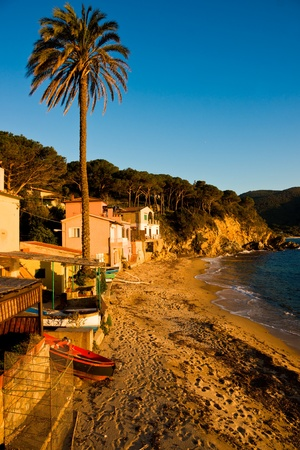 Sunset in Forno Bech, in the bay of Biodola, Isle of Elba, Livorno, Italy. photo