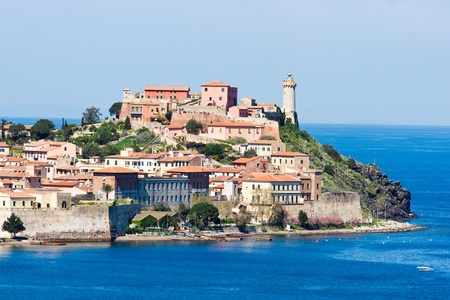 View of Portoferraio old city, with Forte falcone and theLighthouse. Isle of Elba, Livorno, Italy. photo