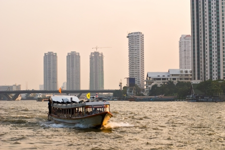 cruising: Cruising the Chao Praya River, Bangkok  Stock Photo