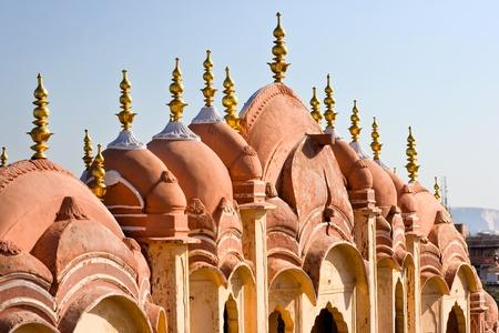polygamy: Details of Hawa Mahal, The Palace pf Winds, Jaipur, Rajasthan, India.
