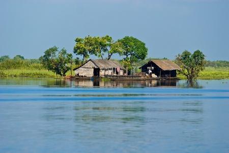 houseboat: Tipical Houseboat in the Mekong River near battambang, Cambodia.