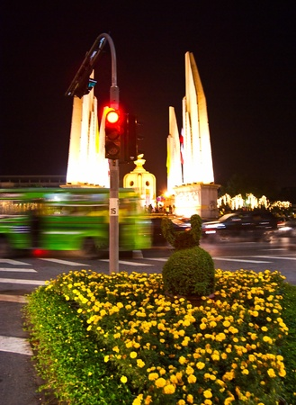 Night view of democracy Monument in bangkok, near Khao San Road, Thailand. photo