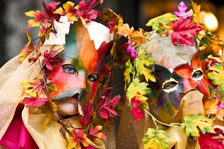Two leaf mask in Venice, Italy. photo