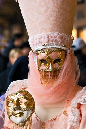 Pink mask in Venice, Italy. photo