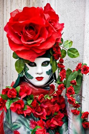 mardigras: Beautiful Rose mask in Venice, Italy. Stock Photo