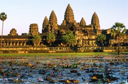 krishna: Temple d'Angkor Wat au coucher du soleil, Siem Reap, Cambodge Banque d'images