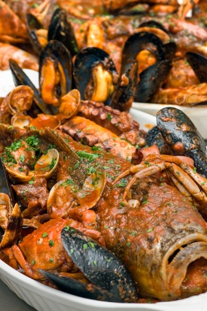 Cacciucco alla Livornese, Typical  Italian Seafood Soup Stock Photo - 9076136