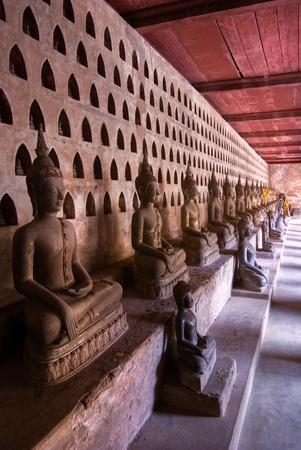 Buddha inside a Temple in Luang prabang, Laos. Stock Photo
