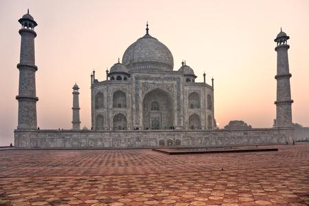 Panoramic view of Taj Mahal at sunset, Agra, Uttar Pradesh, India. photo