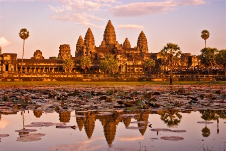 prayer tower: Tempio di Angkor Wat al tramonto, Siem reap, Cambogia. Archivio Fotografico