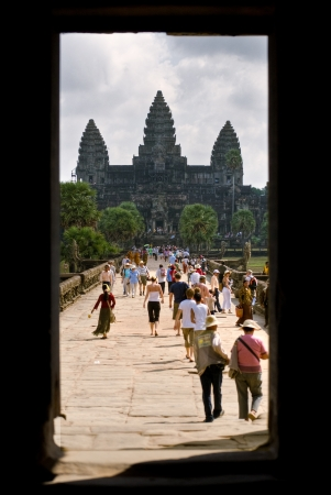 Main entrance of Angkor wat, Siem reap,  cambodia