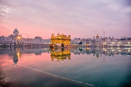punjab:  Golden Temple in Amritsar at sunset, Punjab, India. Stock Photo