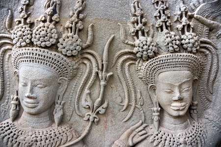 Apsara carved on the wall of Angkor Wat,  cambodia. photo