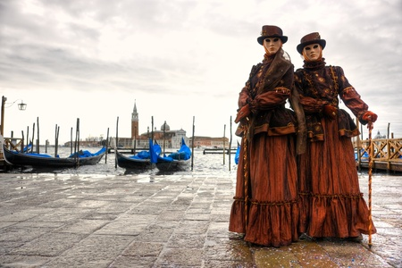 corazon: Two  masks in Venice, Italy. Stock Photo