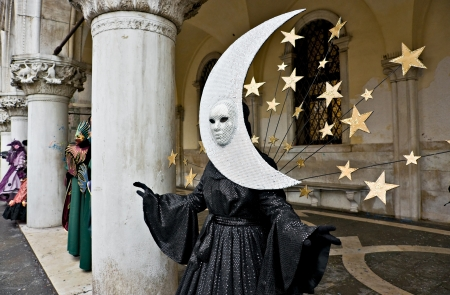 mardigras: Half Moon mask in Venice, Italy  Stock Photo