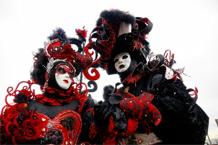 Two Red and Black masks in Venice, Italy.