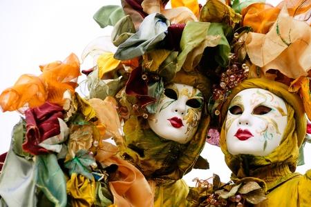 venice italy: Two  masks in Venice, Italy. Stock Photo