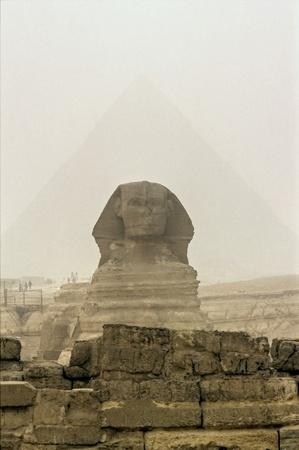 giza: Giza, The Sphinx and Chefren Pyramid, Cairo, Egypt.