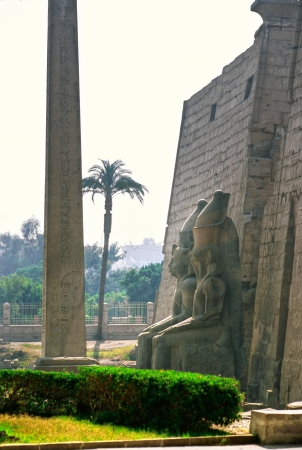 obelisk stone: Entrance of The temple of Luxor, Egypt   Stock Photo