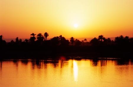 Sunset on the Nile River, Egypt.