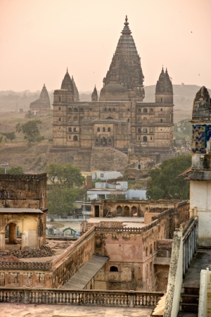 nandi: Palace in Orcha at sunset, Madhya Pradesh, India  Editorial