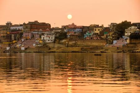 ganges: Varanasi  Benares  at sunset, uttar Pradesh, from the gange river, India  Stock Photo