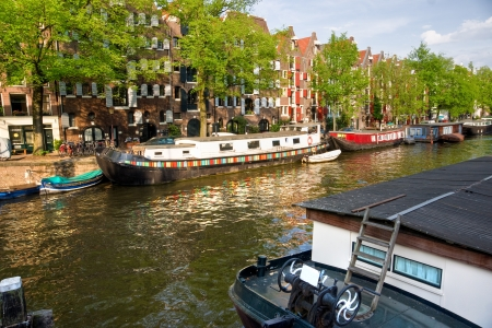 gabled house: Amsterdam, Canals, boat and bike