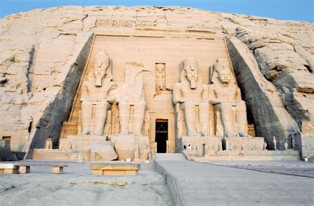 View of the temple of Abu Simbel at Sunrise, Egypt  photo