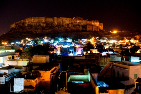 Night View of Jodhpur, the blue city and the Mehrangarh fort