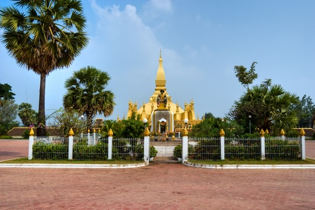 The sacred Wat Pha That Luang, Vientiaine,Laos. photo