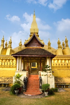 banian tree: The sacred Wat Pha That Luang, Vientiaine,Laos.