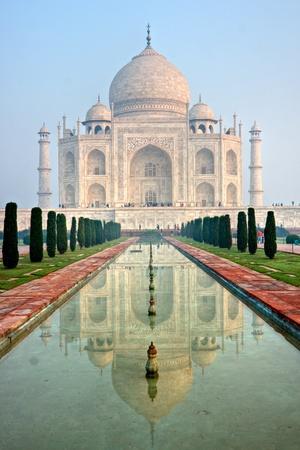 taj: Panoramic view of Taj Mahal at sunrise, Agra, Uttar Pradesh, India.