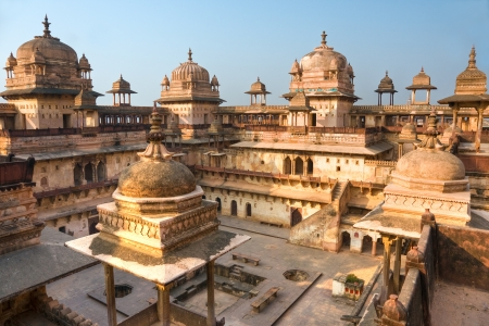 reincarnation: Palace in Orcha at sunset, Madhya Pradesh, India  Stock Photo