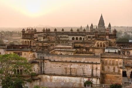 nandi: Jahangir Mahal, Orchha during sunset in Madhya Pradesh, India Editorial
