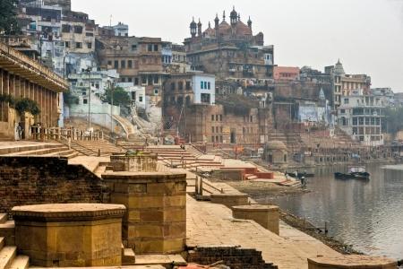 uttar pradesh: Varanasi  Benares  in a foggy day  Uttar Pradesh, India