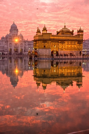 amritsar:  Golden Temple at sunset, Amritsar, Punjab, India.